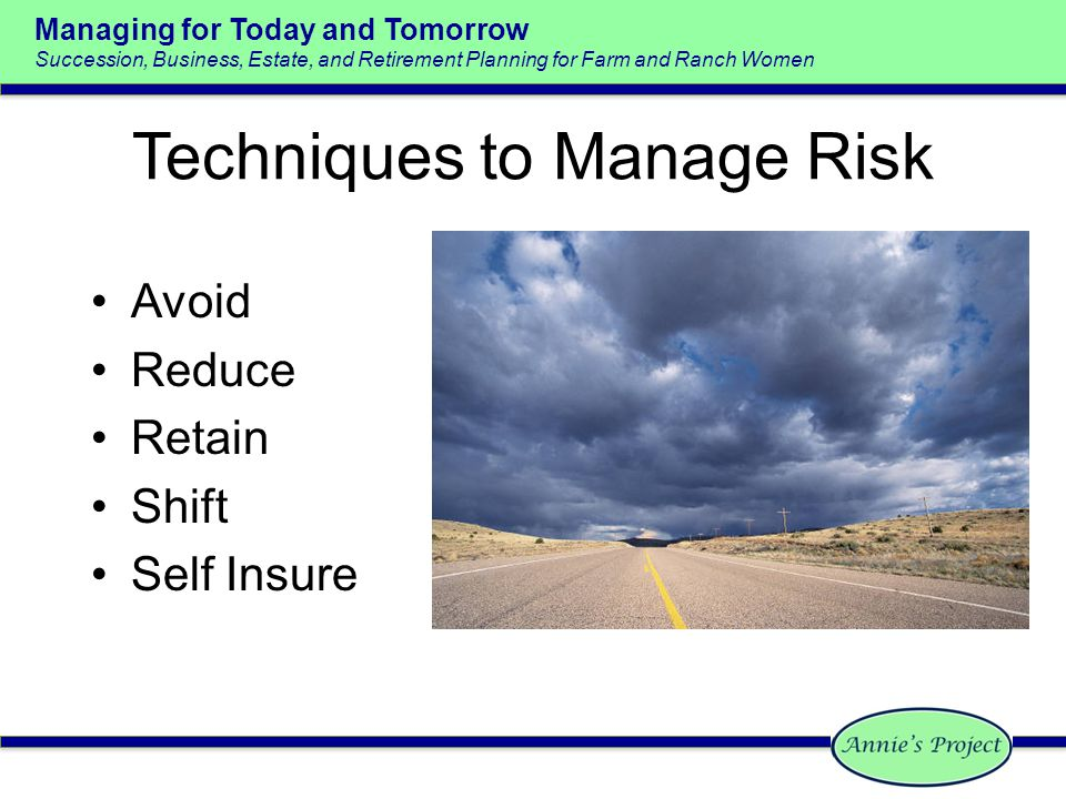 Managing for Today and Tomorrow Succession, Business, Estate, and Retirement Planning for Farm and Ranch Women Techniques to Manage Risk Avoid Reduce Retain Shift Self Insure