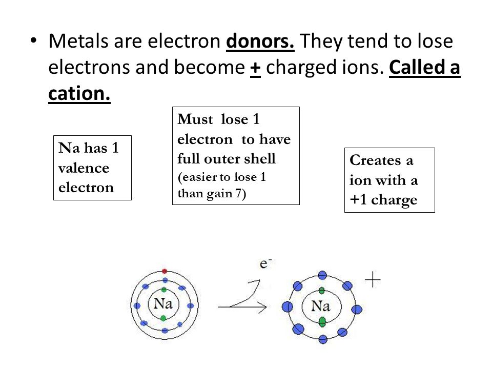 Metals are electron donors. They tend to lose electrons and become + charged ions.
