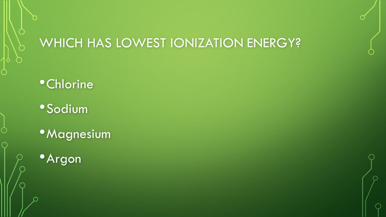 WHICH HAS LOWEST IONIZATION ENERGY Chlorine Chlorine Sodium Sodium Magnesium Magnesium Argon Argon