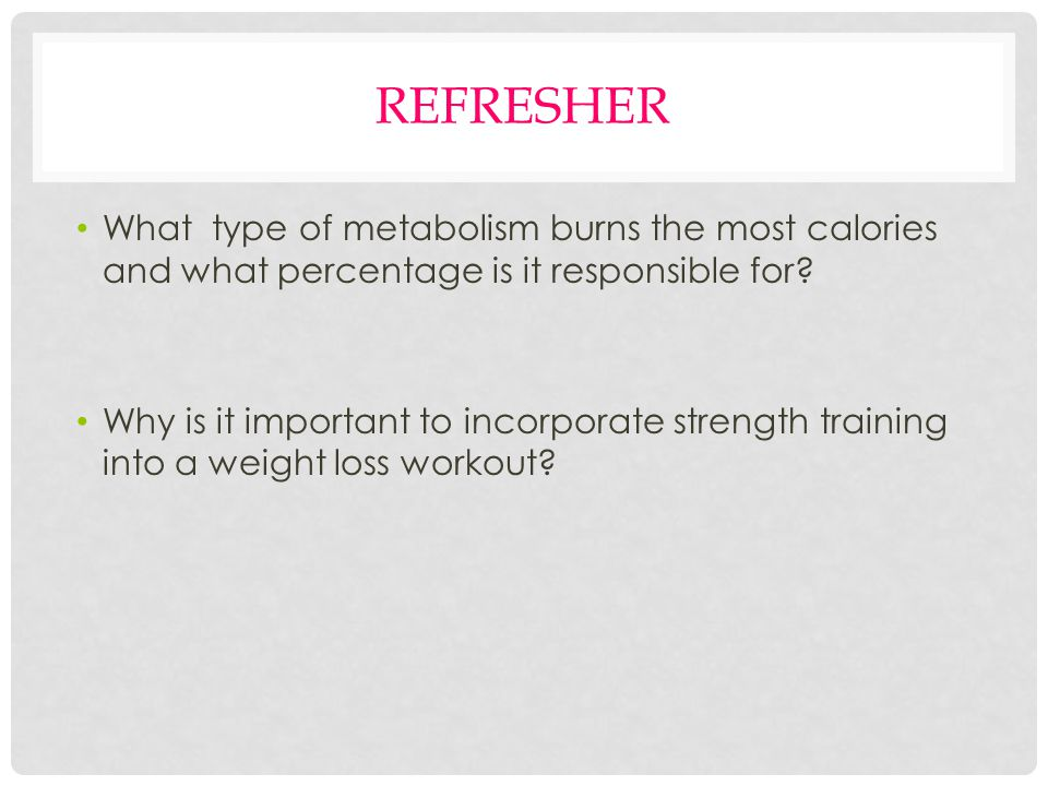 REFRESHER What type of metabolism burns the most calories and what percentage is it responsible for.