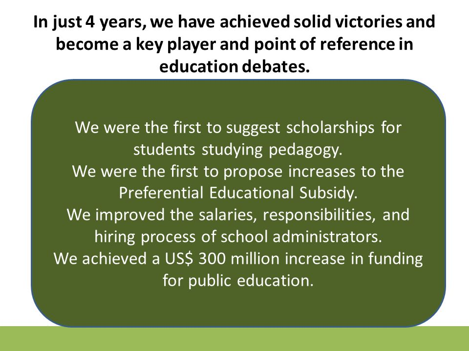 In just 4 years, we have achieved solid victories and become a key player and point of reference in education debates.