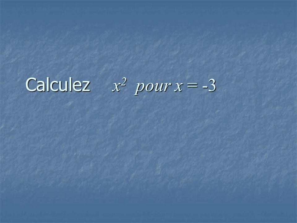 Calculez x 2 pour x = -3