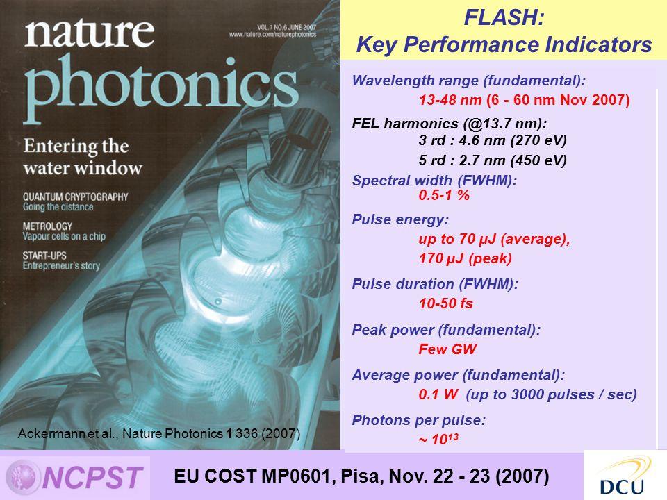 water window Wavelength range (fundamental): 13-48 nm (6 - 60 nm Nov 2007) FEL harmonics (@13.7 nm): 3 rd : 4.6 nm (270 eV) 5 rd : 2.7 nm (450 eV) Spectral width (FWHM): 0.5-1 % Pulse energy: up to 70 µJ (average), 170 µJ (peak) Pulse duration (FWHM): 10-50 fs Peak power (fundamental): Few GW Average power (fundamental): 0.1 W (up to 3000 pulses / sec) Photons per pulse: ~ 10 13 FLASH: Key Performance Indicators Ackermann et al., Nature Photonics 1 336 (2007) EU COST MP0601, Pisa, Nov.