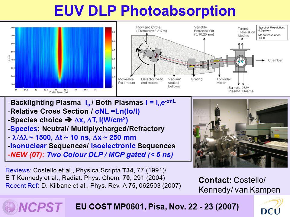 EUV DLP Photoabsorption EU COST MP0601, Pisa, Nov.