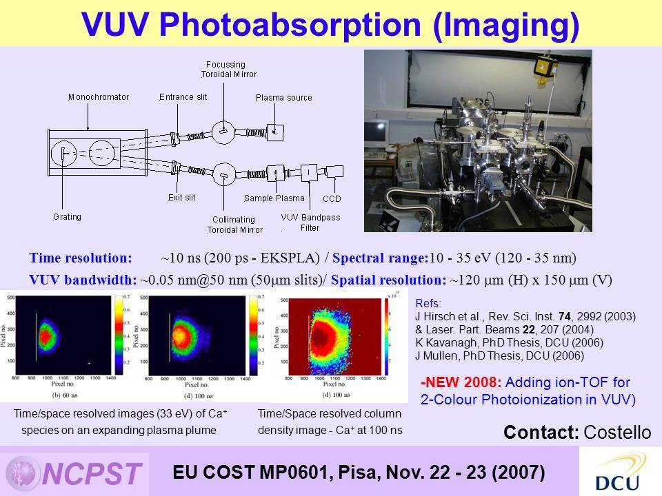 VUV Photoabsorption (Imaging) EU COST MP0601, Pisa, Nov.