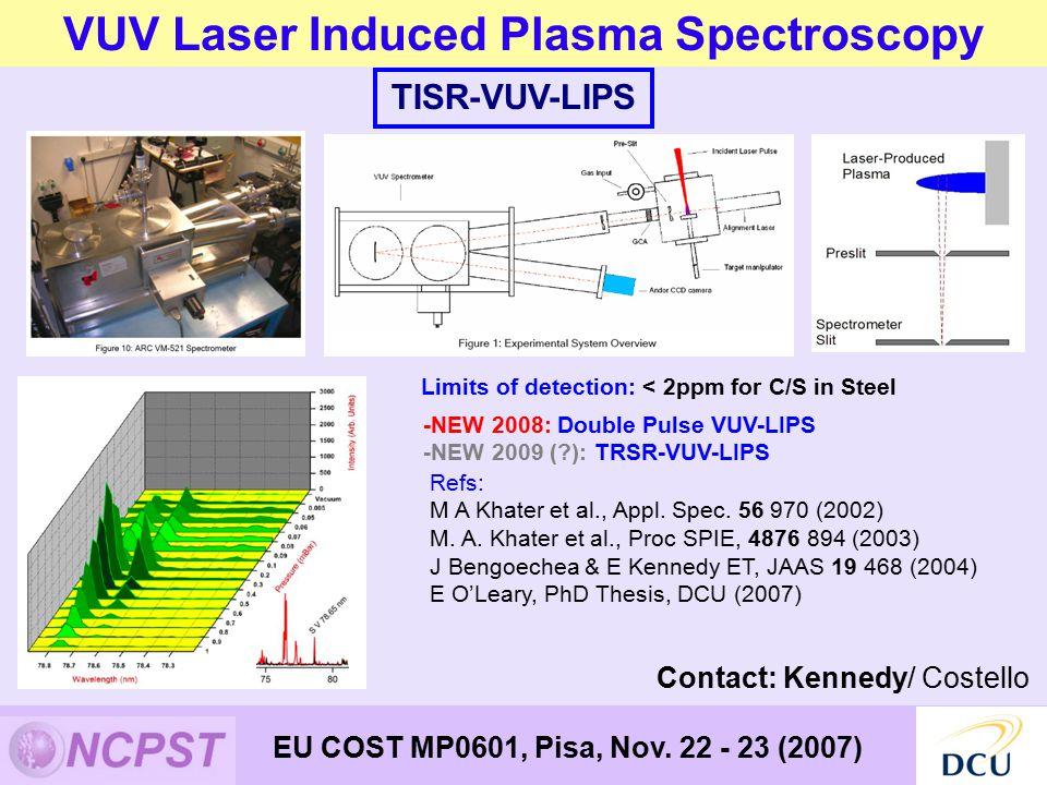 VUV Laser Induced Plasma Spectroscopy EU COST MP0601, Pisa, Nov.