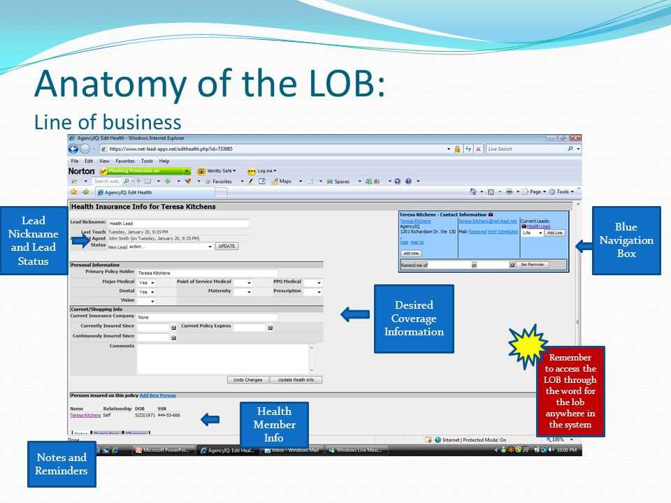 Anatomy of the LOB: Line of business Lead Nickname and Lead Status Blue Navigation Box Desired Coverage Information Health Member Info Notes and Reminders Remember to access the LOB through the word for the lob anywhere in the system