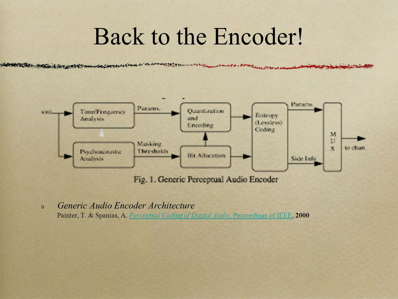 Back to the Encoder. Generic Audio Encoder Architecture Painter, T.