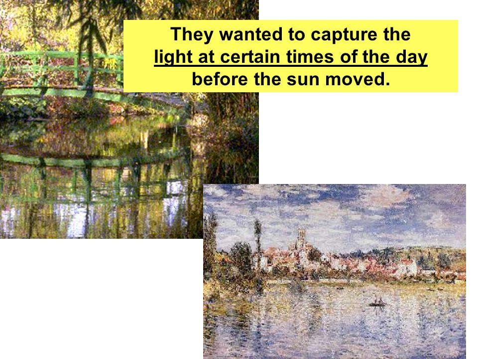 Monet and Renoir painted together along the river banks.