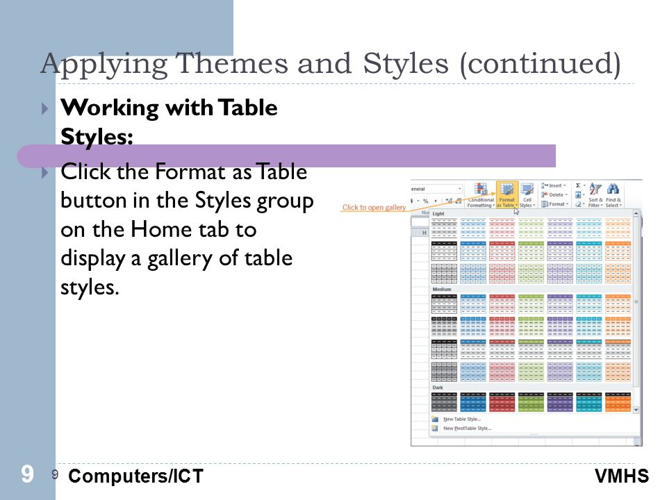 Computers/ICTVMHS Applying Themes and Styles (continued) 9  Working with Table Styles:  Click the Format as Table button in the Styles group on the Home tab to display a gallery of table styles.