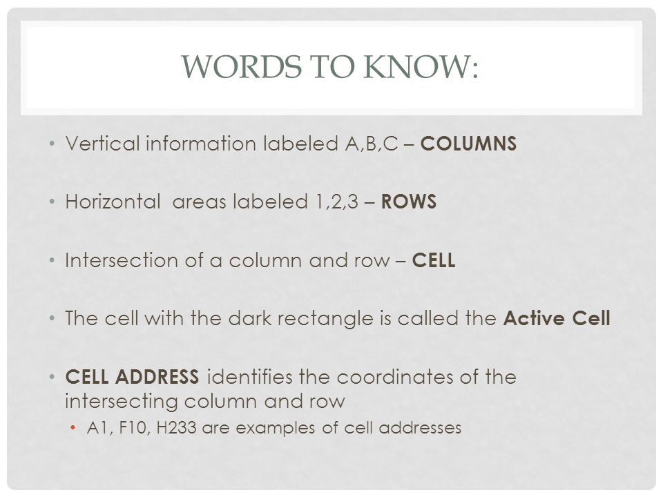 WORDS TO KNOW: Vertical information labeled A,B,C – COLUMNS Horizontal areas labeled 1,2,3 – ROWS Intersection of a column and row – CELL The cell with the dark rectangle is called the Active Cell CELL ADDRESS identifies the coordinates of the intersecting column and row A1, F10, H233 are examples of cell addresses