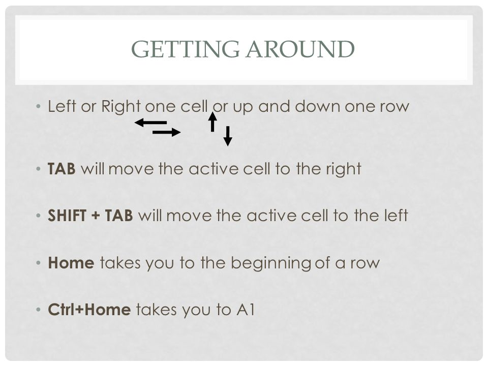 GETTING AROUND Left or Right one cell or up and down one row TAB will move the active cell to the right SHIFT + TAB will move the active cell to the left Home takes you to the beginning of a row Ctrl+Home takes you to A1