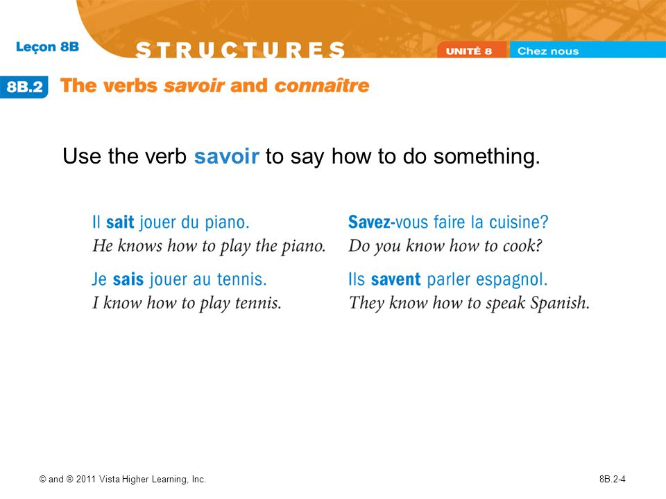 © and ® 2011 Vista Higher Learning, Inc.8B.2-4 Use the verb savoir to say how to do something.