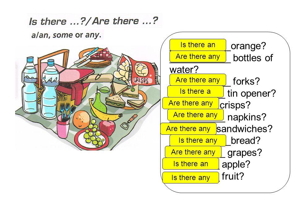 ___________orange. ___________ bottles of water. ___________ forks.