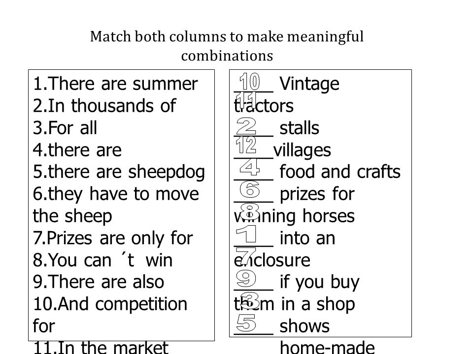 Match both columns to make meaningful combinations 1.There are summer 2.In thousands of 3.For all 4.there are 5.there are sheepdog 6.they have to move the sheep 7.Prizes are only for 8.You can ´t win 9.There are also 10.And competition for 11.In the market there´re food 12.Where you can buy ____ Vintage tractors ____ stalls ____villages ____ food and crafts ____ prizes for winning horses ____ into an enclosure ____ if you buy them in a shop ____ shows ____ home-made things ____ rallies of classic cars ____ kinds of animals and … ____ trials as well