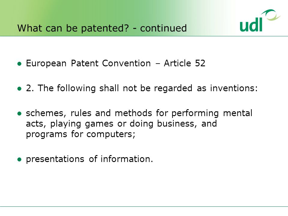 European Patent Convention – Article 52 2.
