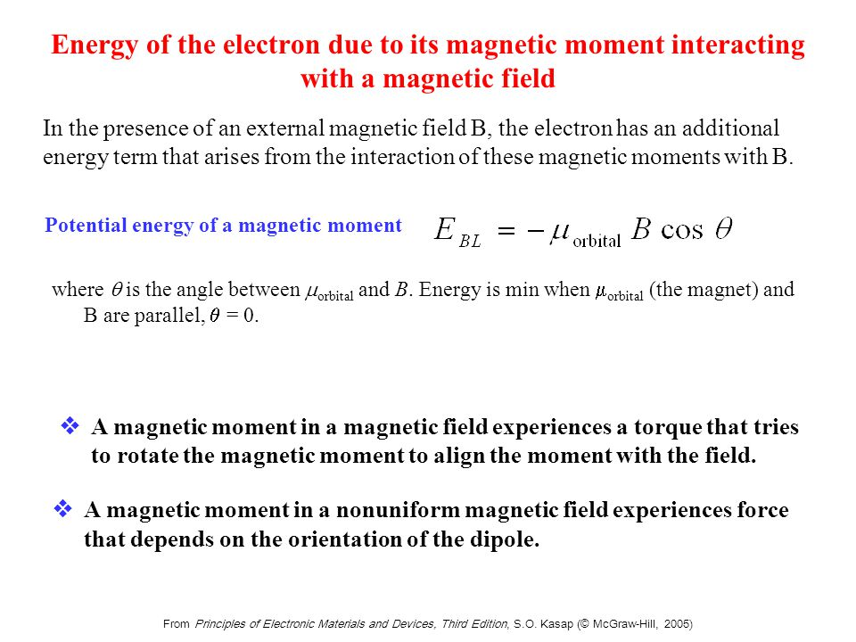 From Principles of Electronic Materials and Devices, Third Edition, S.O. Kasap (© McGraw-Hill, 2005) Energy of the electron due to its magnetic moment