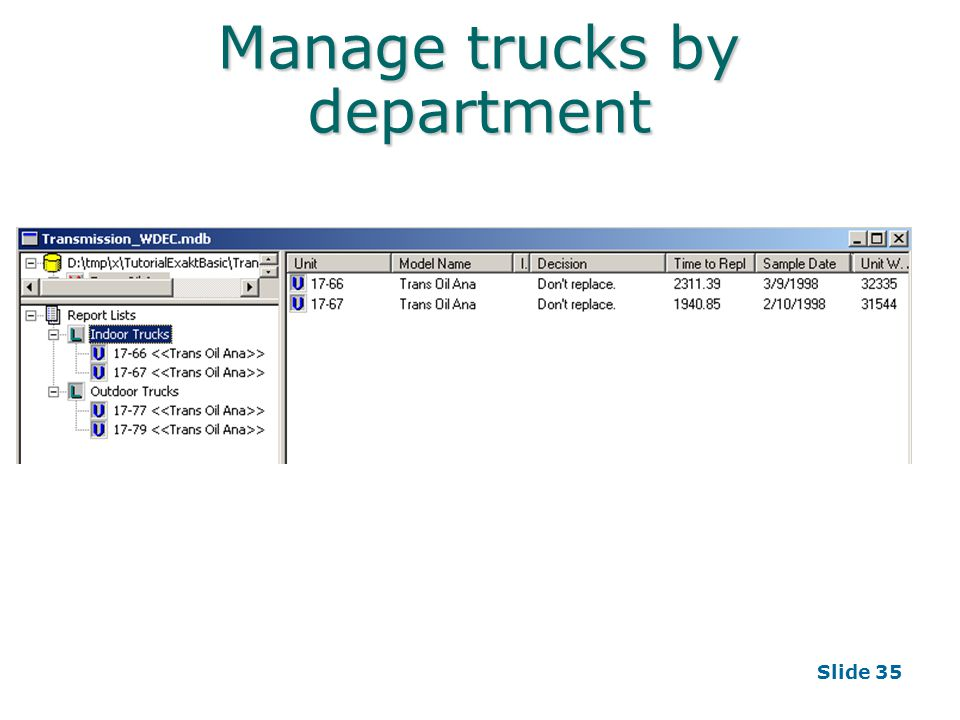 Slide 35 Manage trucks by department