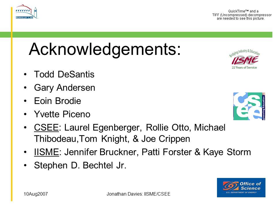 10Aug2007Jonathan Davies: IISME/CSEE Acknowledgements: Todd DeSantis Gary Andersen Eoin Brodie Yvette Piceno CSEE: Laurel Egenberger, Rollie Otto, Mic