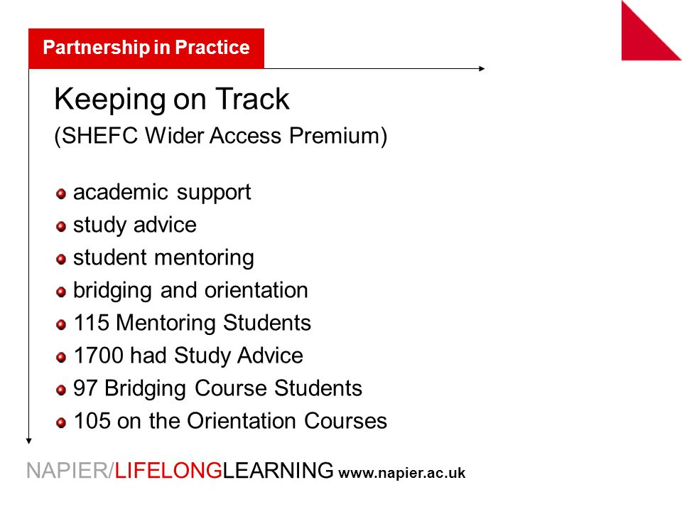NAPIER/LIFELONGLEARNING   Partnership in Practice Keeping on Track (SHEFC Wider Access Premium) academic support study advice student mentoring bridging and orientation 115 Mentoring Students 1700 had Study Advice 97 Bridging Course Students 105 on the Orientation Courses
