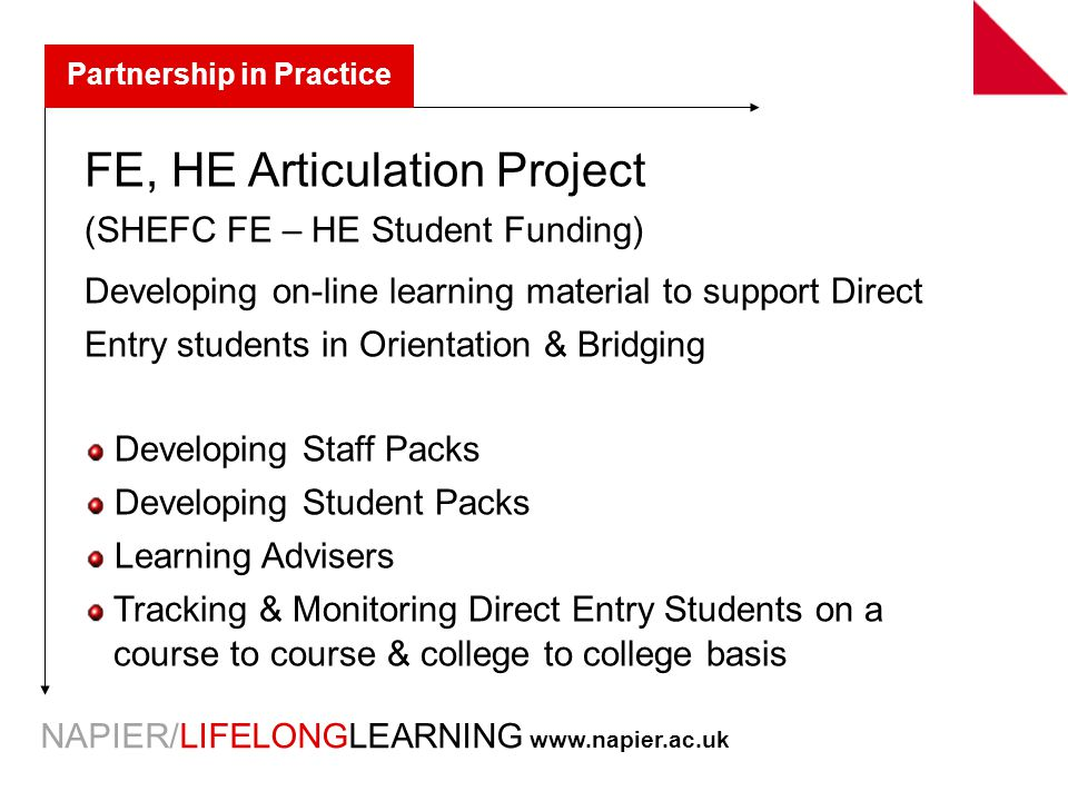 NAPIER/LIFELONGLEARNING   Partnership in Practice FE, HE Articulation Project (SHEFC FE – HE Student Funding) Developing on-line learning material to support Direct Entry students in Orientation & Bridging Developing Staff Packs Developing Student Packs Learning Advisers Tracking & Monitoring Direct Entry Students on a course to course & college to college basis