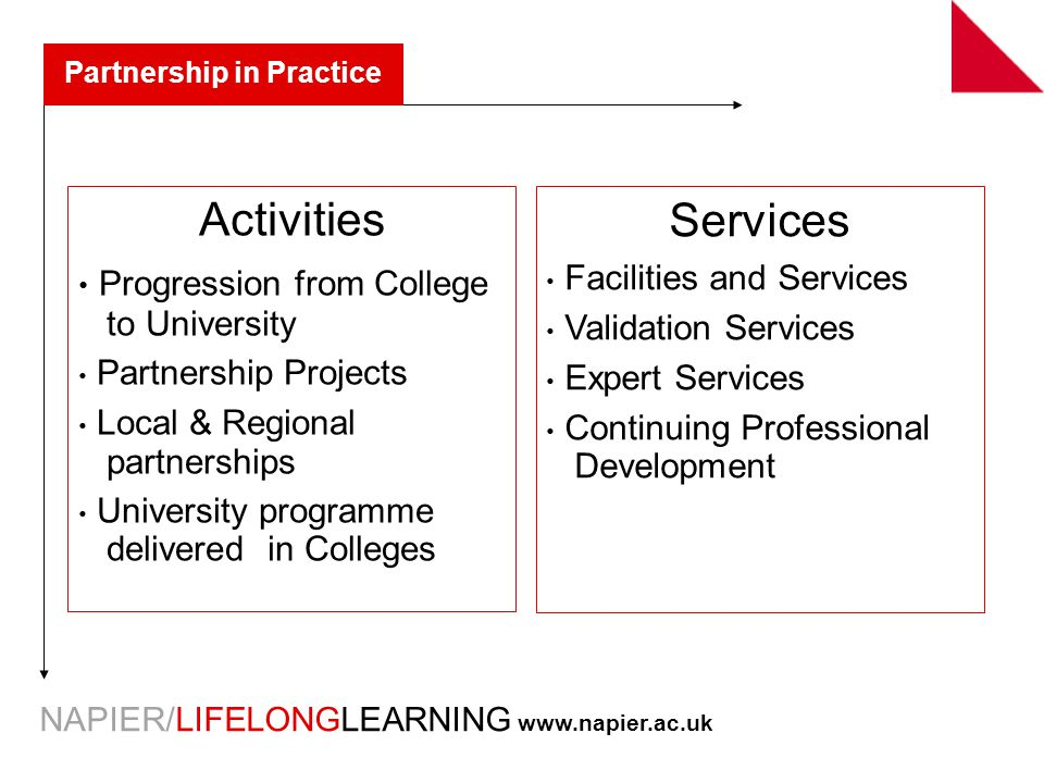 NAPIER/LIFELONGLEARNING   Partnership in Practice Activities Progression from College to University Partnership Projects Local & Regional partnerships University programme delivered in Colleges Services Facilities and Services Validation Services Expert Services Continuing Professional Development