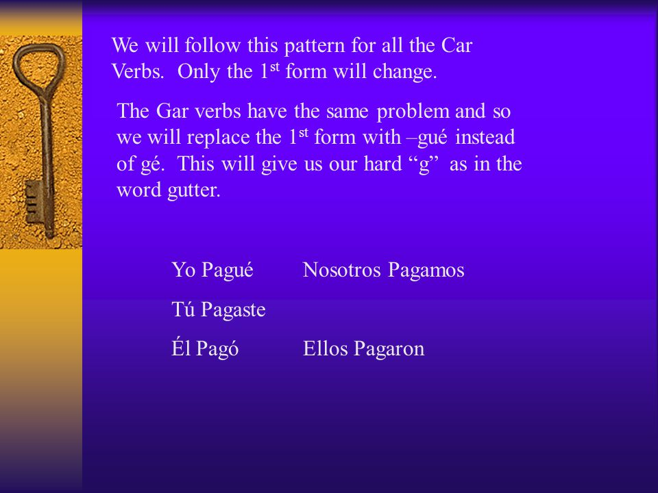 We will follow this pattern for all the Car Verbs.