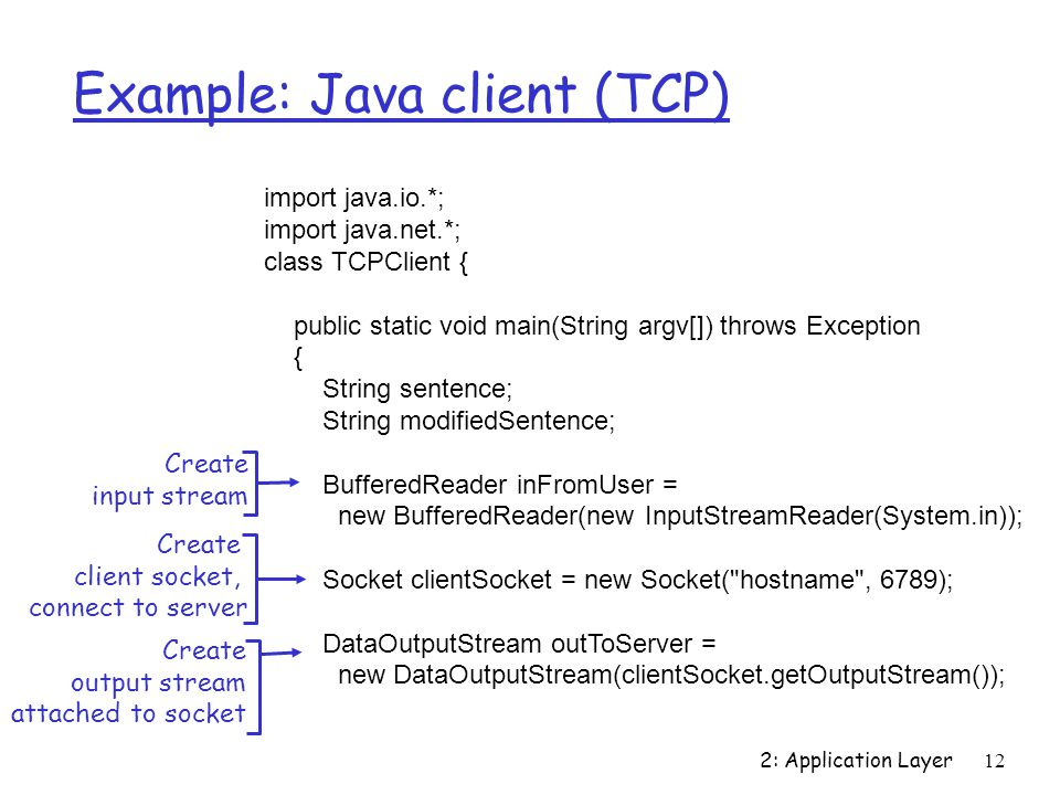 2: Application Layer12 Example: Java client (TCP) import java.io.*; import java.net.*; class TCPClient { public static void main(String argv[]) throws Exception { String sentence; String modifiedSentence; BufferedReader inFromUser = new BufferedReader(new InputStreamReader(System.in)); Socket clientSocket = new Socket( hostname , 6789); DataOutputStream outToServer = new DataOutputStream(clientSocket.getOutputStream()); Create input stream Create client socket, connect to server Create output stream attached to socket