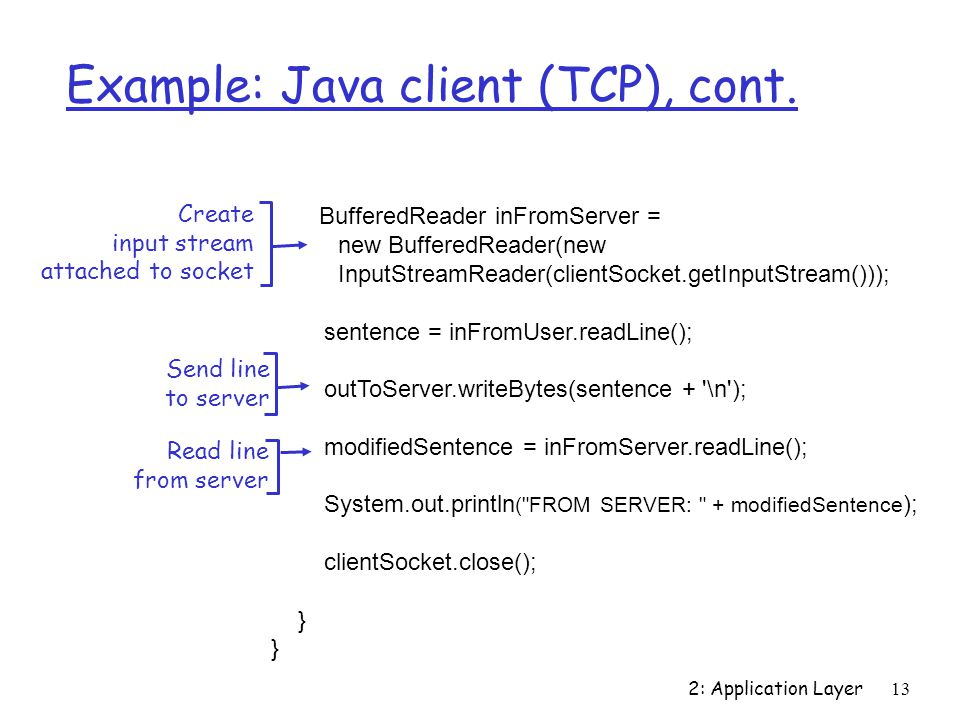 2: Application Layer13 Example: Java client (TCP), cont.