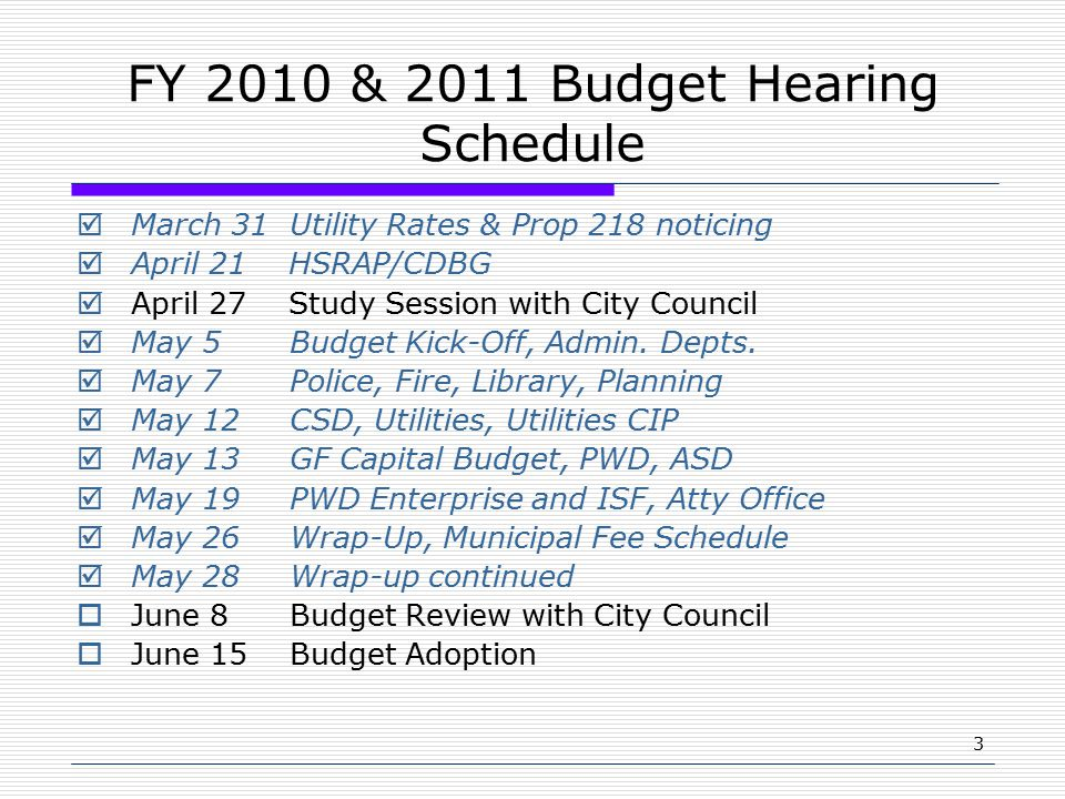 3 FY 2010 & 2011 Budget Hearing Schedule  March 31 Utility Rates & Prop 218 noticing  April 21 HSRAP/CDBG  April 27 Study Session with City Council  May 5 Budget Kick-Off, Admin.