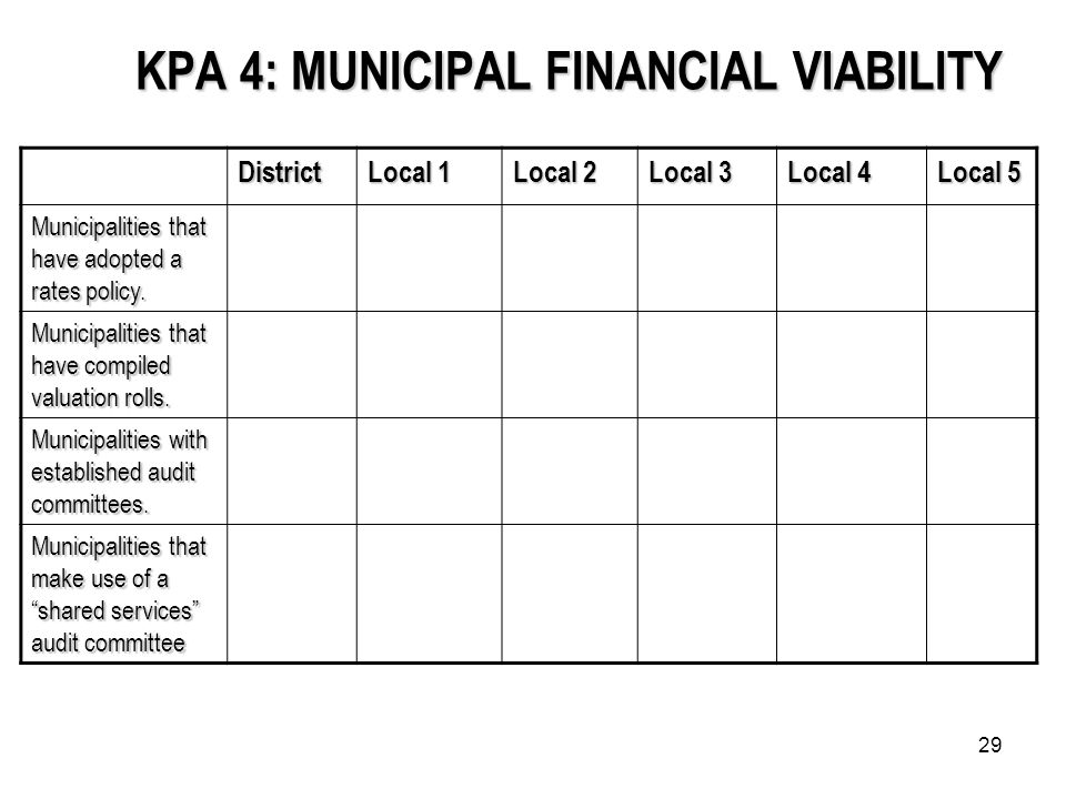 29 KPA 4: MUNICIPAL FINANCIAL VIABILITY District Local 1 Local 2 Local 3 Local 4 Local 5 Municipalities that have adopted a rates policy.