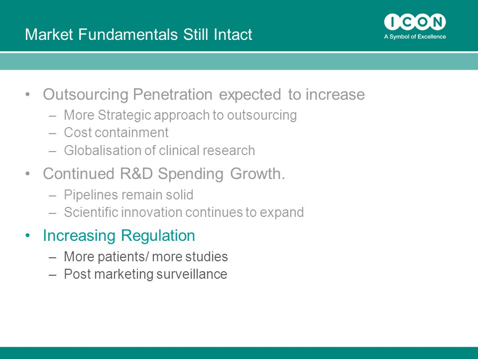 Market Fundamentals Still Intact Outsourcing Penetration expected to increase –More Strategic approach to outsourcing –Cost containment –Globalisation of clinical research Continued R&D Spending Growth.