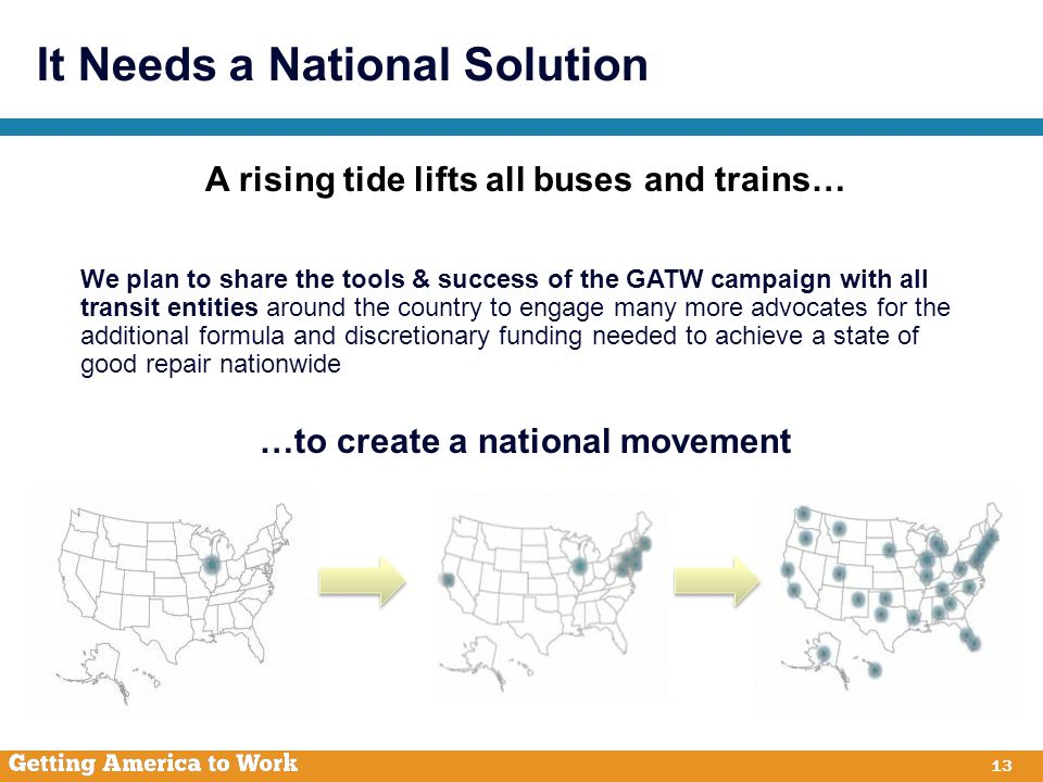 It Needs a National Solution 13 A rising tide lifts all buses and trains… We plan to share the tools & success of the GATW campaign with all transit entities around the country to engage many more advocates for the additional formula and discretionary funding needed to achieve a state of good repair nationwide …to create a national movement