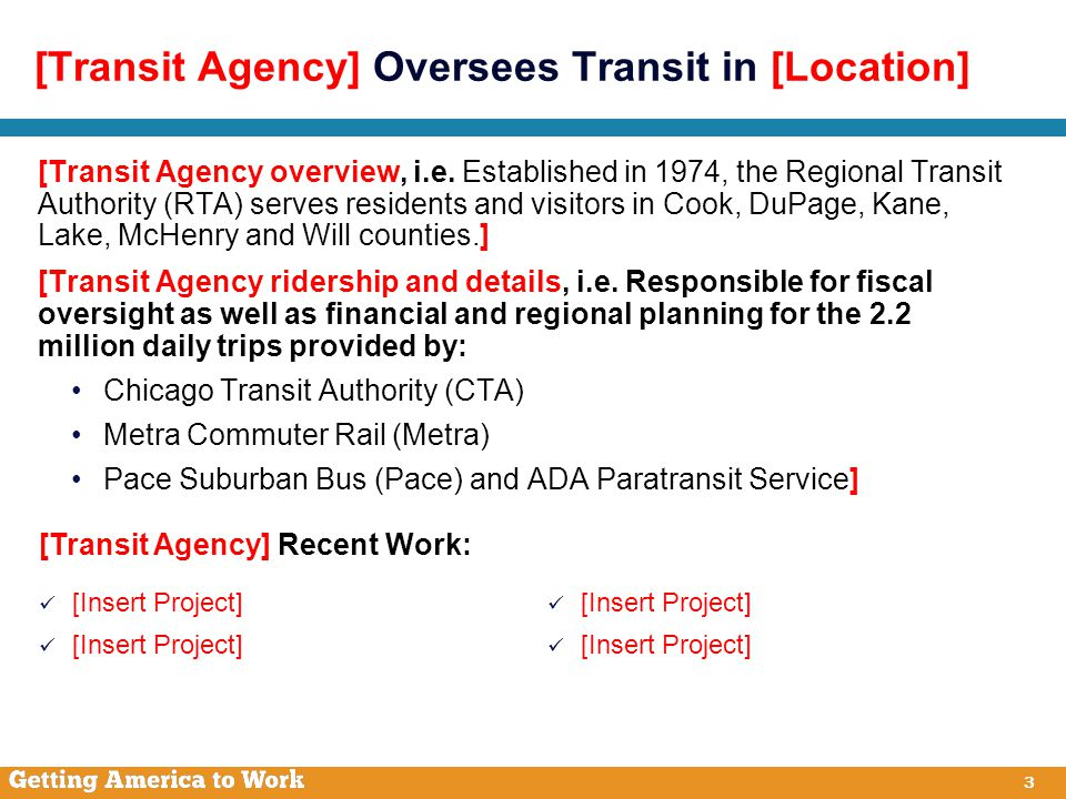 3 [Transit Agency] Oversees Transit in [Location] [Transit Agency overview, i.e.
