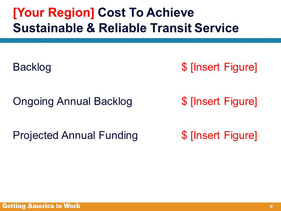 9 Backlog$ [Insert Figure] Ongoing Annual Backlog $ [Insert Figure] Projected Annual Funding$ [Insert Figure] [Your Region] Cost To Achieve Sustainable & Reliable Transit Service