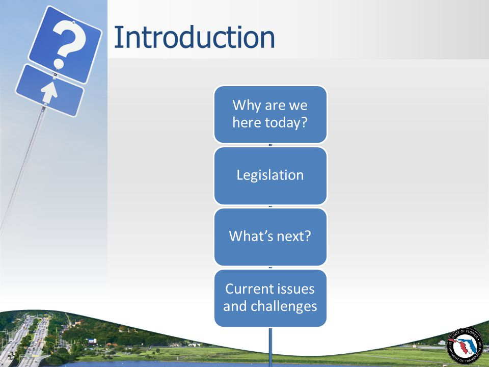 Introduction Why are we here today LegislationWhat's next Current issues and challenges