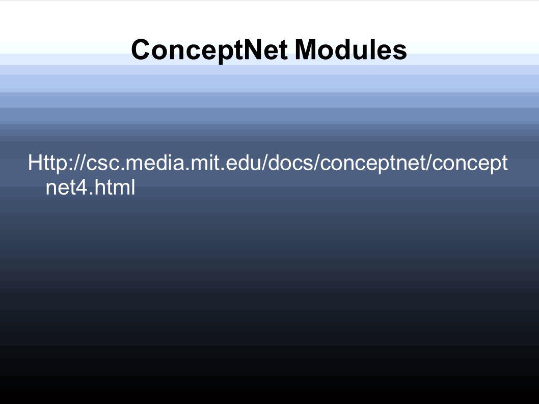 ConceptNet Modules Http://csc.media.mit.edu/docs/conceptnet/concept net4.html