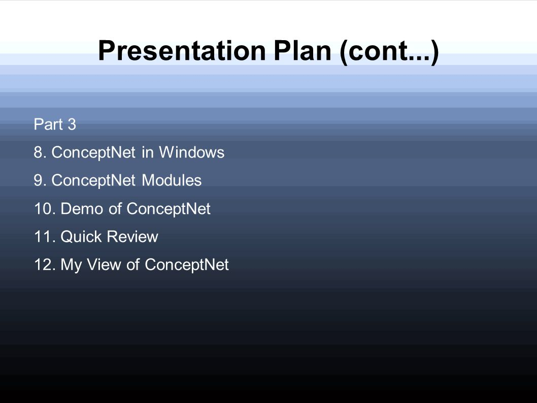Presentation Plan (cont...) Part 3 8. ConceptNet in Windows 9. ConceptNet Modules 10. Demo of ConceptNet 11. Quick Review 12. My View of ConceptNet