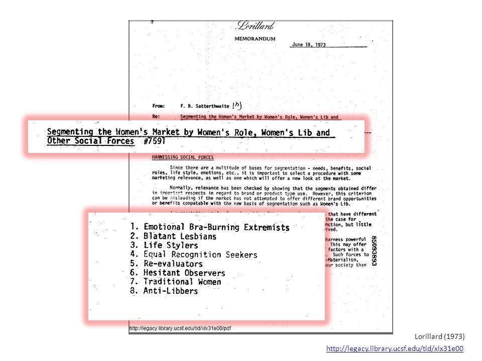 http://legacy.library.ucsf.edu/tid/xlx31e00 Lorillard (1973)