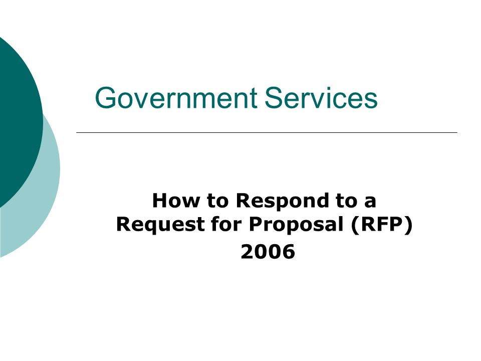 Government Services How To Respond To A Request For Proposal Rfp