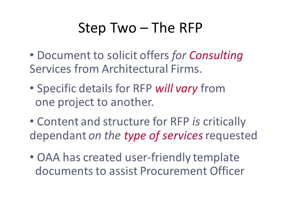 Document to solicit offers for Consulting Services from Architectural Firms.
