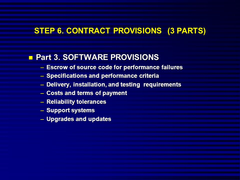 STEP 6. CONTRACT PROVISIONS (3 PARTS) n Part 3.
