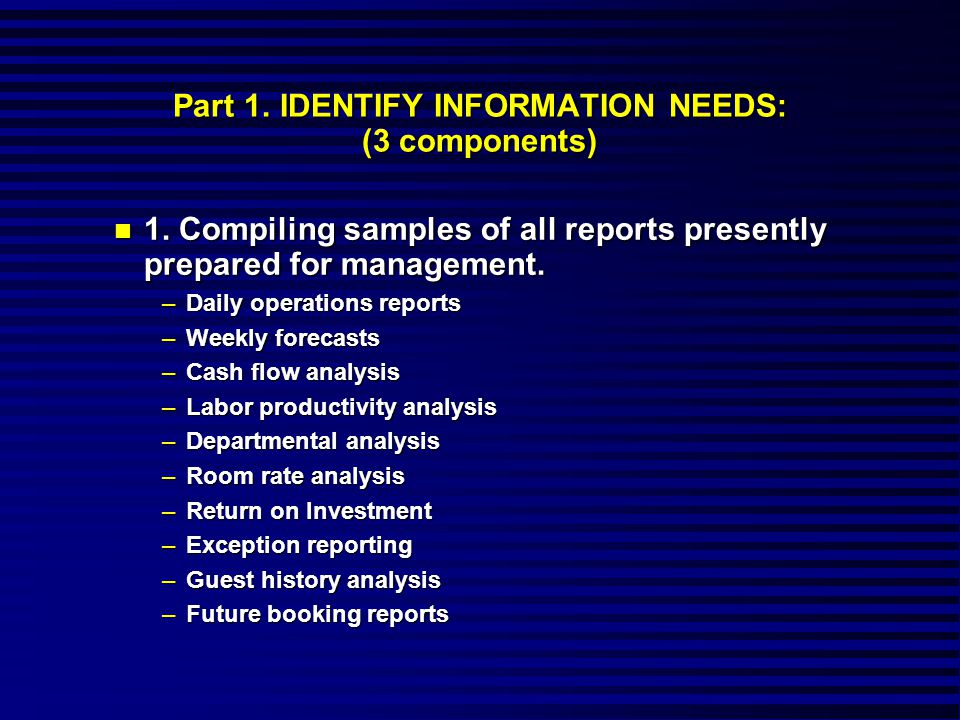 Part 1. IDENTIFY INFORMATION NEEDS: (3 components) n 1.