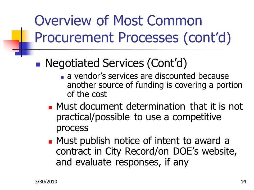 3/30/ Overview of Most Common Procurement Processes (cont'd) Negotiated Services (Cont'd) a vendor's services are discounted because another source of funding is covering a portion of the cost Must document determination that it is not practical/possible to use a competitive process Must publish notice of intent to award a contract in City Record/on DOE's website, and evaluate responses, if any
