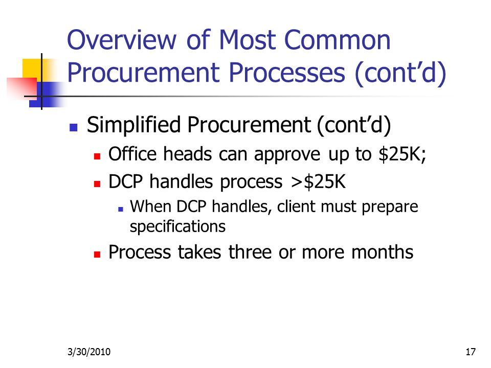 3/30/ Overview of Most Common Procurement Processes (cont'd) Simplified Procurement (cont'd) Office heads can approve up to $25K; DCP handles process >$25K When DCP handles, client must prepare specifications Process takes three or more months