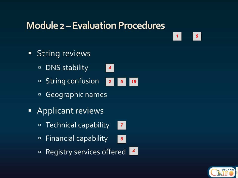 Module 2 – Evaluation Procedures  String reviews  DNS stability  String confusion  Geographic names  Applicant reviews  Technical capability  Financial capability  Registry services offered 19
