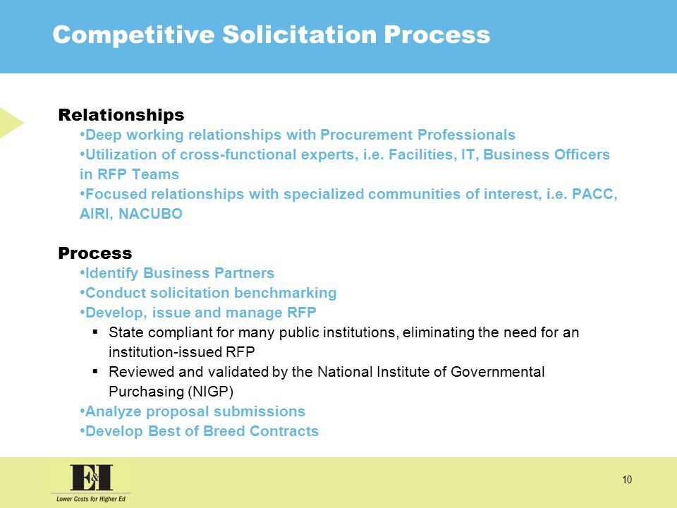 10 Competitive Solicitation Process Relationships Deep working relationships with Procurement Professionals Utilization of cross-functional experts, i.e.