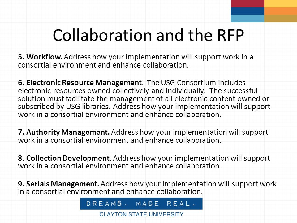 Collaboration and the RFP 5. Workflow.