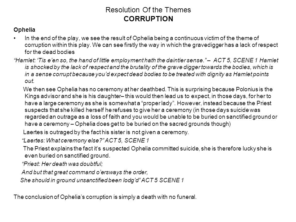 hamlet william shakespeare essay revision the ending act ppt  3 resolution