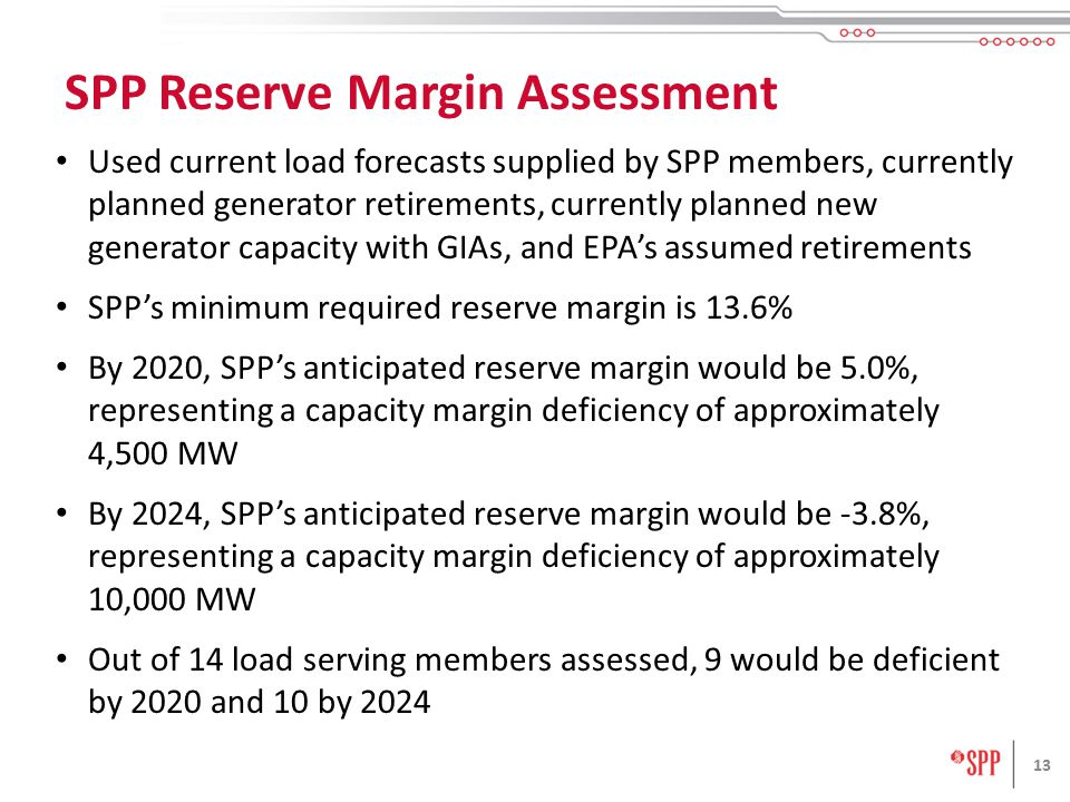 Used current load forecasts supplied by SPP members, currently planned generator retirements, currently planned new generator capacity with GIAs, and EPA's assumed retirements SPP's minimum required reserve margin is 13.6% By 2020, SPP's anticipated reserve margin would be 5.0%, representing a capacity margin deficiency of approximately 4,500 MW By 2024, SPP's anticipated reserve margin would be -3.8%, representing a capacity margin deficiency of approximately 10,000 MW Out of 14 load serving members assessed, 9 would be deficient by 2020 and 10 by SPP Reserve Margin Assessment